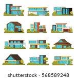 modern suburban houses... | Shutterstock .eps vector #568589248