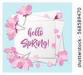hello spring lettering. cherry... | Shutterstock .eps vector #568589470