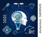 hi tech technology concept with ... | Shutterstock .eps vector #568589650