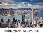 view point of hongkong city and ... | Shutterstock . vector #568593718