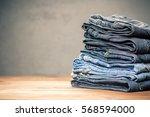pile of jeans   Shutterstock . vector #568594000