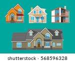 suburban family house set....   Shutterstock .eps vector #568596328