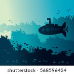 Silhouette Of Submarine And...