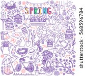 spring season doodle set