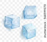 realistic blue solid ice cubes... | Shutterstock .eps vector #568599370