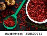 red dried goji berry superfood... | Shutterstock . vector #568600363