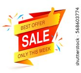 colorful sale event banner on... | Shutterstock .eps vector #568603774