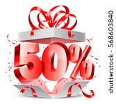 opened gift box with 50 percent ... | Shutterstock .eps vector #568603840
