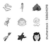 stone age set icons in... | Shutterstock .eps vector #568604098