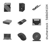 personal computer set icons in... | Shutterstock .eps vector #568604104