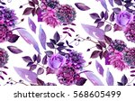 watercolor floral pattern.... | Shutterstock . vector #568605499
