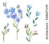 set of blue flowers and buds ... | Shutterstock .eps vector #568607149
