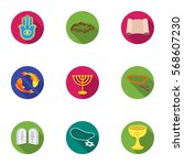 religion set icons in flat... | Shutterstock .eps vector #568607230