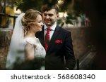 happy newlywed couple hugging... | Shutterstock . vector #568608340