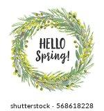 watercolor mimosa flower... | Shutterstock . vector #568618228