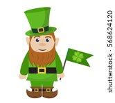 leprechaun  icon flat style. st.... | Shutterstock .eps vector #568624120