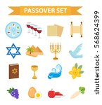 passover icons set. flat ... | Shutterstock .eps vector #568624399