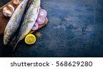 fresh fish with lemon ... | Shutterstock . vector #568629280