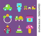 colorful set of isolated baby... | Shutterstock .eps vector #568634983