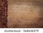 wooden kitchen board with coffee | Shutterstock . vector #568636579