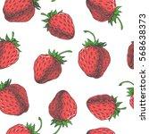 strawberry. vector seamless... | Shutterstock .eps vector #568638373