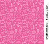 seamless pattern with princess... | Shutterstock .eps vector #568639504