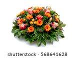 funeral flower wreath ikebana...   Shutterstock . vector #568641628