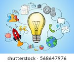 hand drawn lightbulb with... | Shutterstock . vector #568647976