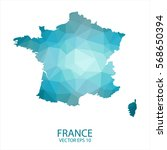 france map   blue geometric... | Shutterstock .eps vector #568650394