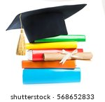 a mortarboard and graduation... | Shutterstock . vector #568652833
