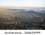 closer aerial view  of foggy... | Shutterstock . vector #568654999