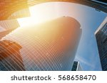skyscraper at sunset with...   Shutterstock . vector #568658470