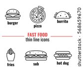 fast food thin line icons....