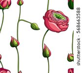 seamless floral pattern with... | Shutterstock .eps vector #568663588