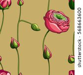 seamless floral pattern with... | Shutterstock .eps vector #568663600