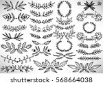 big floral set of black hand... | Shutterstock .eps vector #568664038