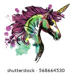 unicorn. drawing by hand in... | Shutterstock .eps vector #568664530