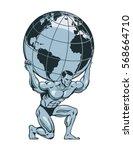 atlas or titan kneeling... | Shutterstock .eps vector #568664710