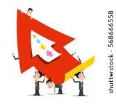 business men holding big red... | Shutterstock .eps vector #568666558