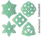 gradient green celtic knots | Shutterstock .eps vector #568666840