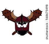emblem viking warrior skull logo   Shutterstock .eps vector #568675498