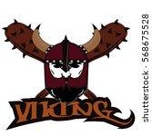 emblem viking warrior skull logo   Shutterstock .eps vector #568675528