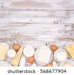 dairy products on wooden... | Shutterstock . vector #568677904