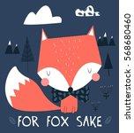 fox hand drawn  for kids vector ... | Shutterstock .eps vector #568680460