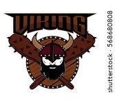 emblem viking warrior skull logo   Shutterstock .eps vector #568680808