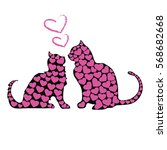 two cats in love  vector  a lot ...   Shutterstock .eps vector #568682668