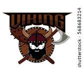emblem viking warrior skull logo   Shutterstock .eps vector #568683214