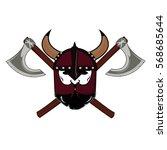 emblem viking warrior skull logo   Shutterstock .eps vector #568685644