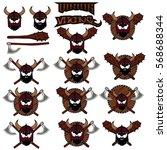 emblem viking warrior skull logo   Shutterstock .eps vector #568688344
