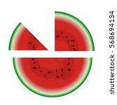 melon cut into half  quarter... | Shutterstock .eps vector #568694134